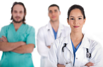 Medical team of Doctors and male nurse